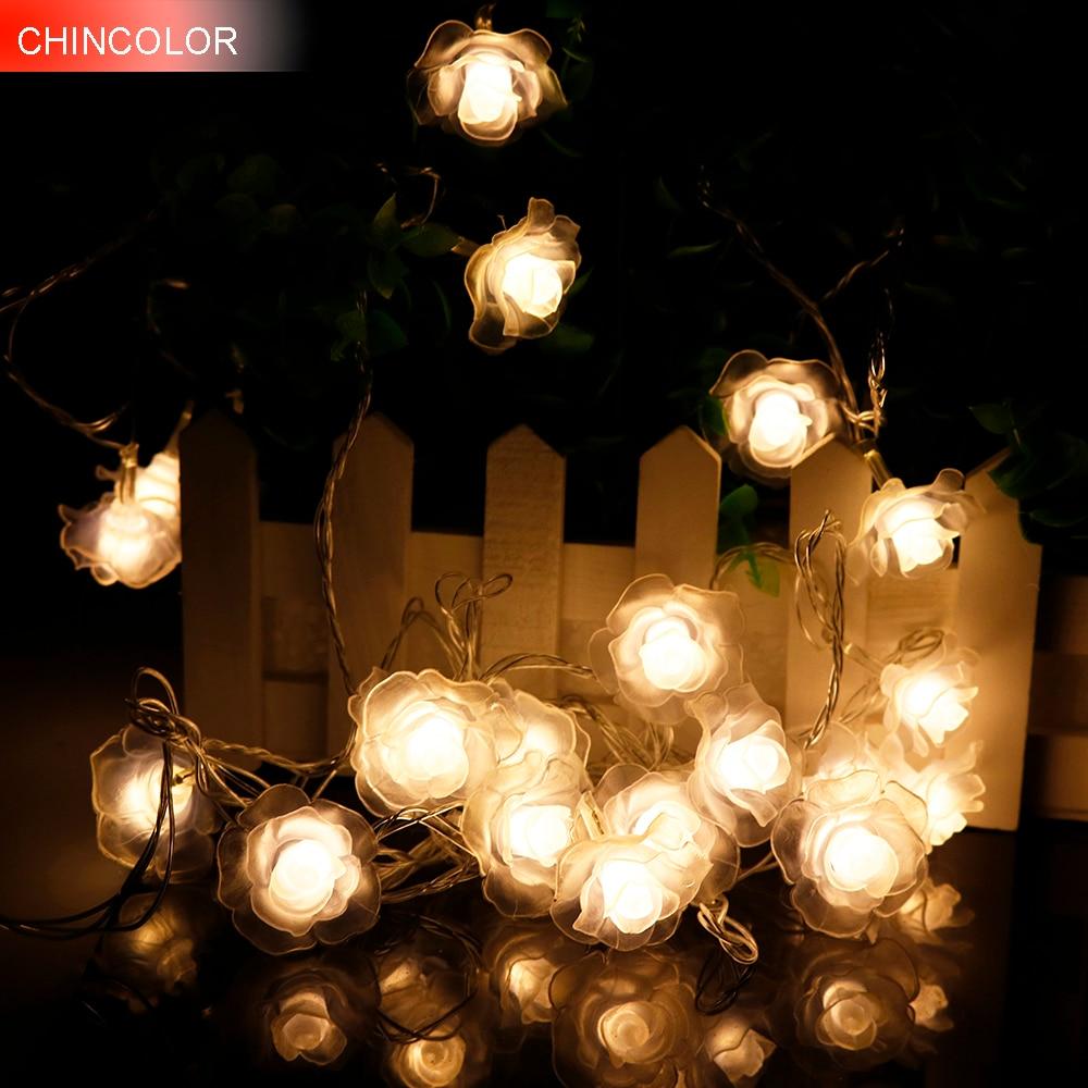 4-5M 20-28Leds Rose LED String Lighting nightlight Flower EU Plug or Battery box Party Wedding Christmas Fairy Decor 2 optionHQ0