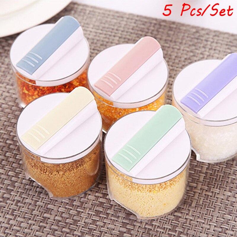 5 pçs/set cozinha açúcar sal pimenta especiarias rack tempero caixa de armazenamento organizador garrafa pote para condimento spice jar recipiente conjunto