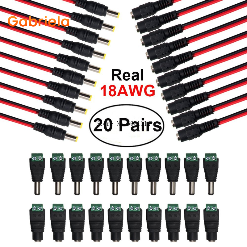 Cables 18AWG 43x2 uds, 10 pares de Cable Pigtail de alimentación CC, 12V 5A macho y hembra + 10 pares de conector Jack de alimentación DC, conector adaptador para CCTV