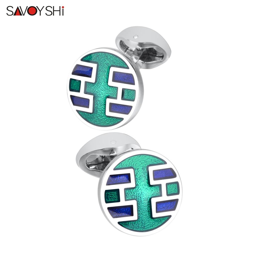Мужские Запонки SAVOYSHI, зеленые запонки с металлической эмалью, высокое качество, французские запонки на пуговицах, деловой подарок