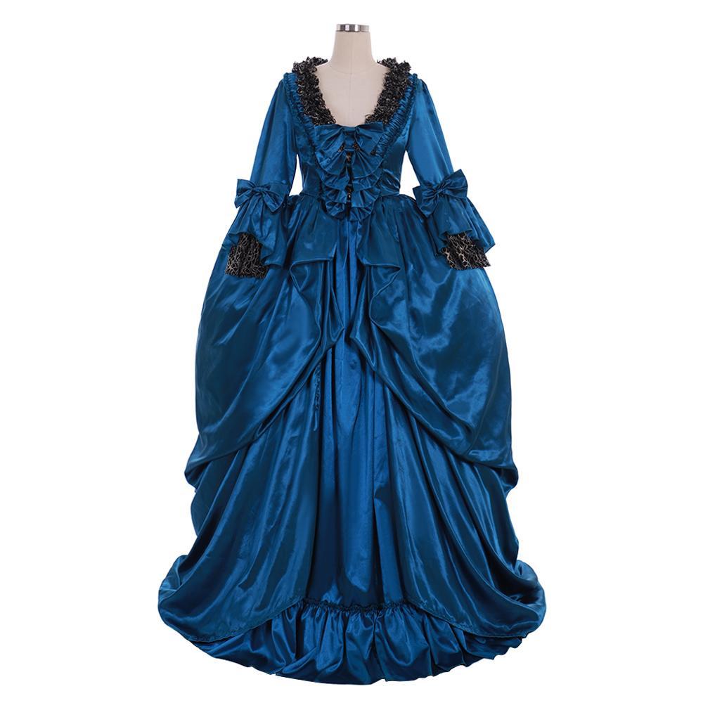 Vestido de Baile Vestido de Casamento do Dia das Bruxas Cosplaydiy Vitoriana Rococó Maria Antonietta Estilo Floral Azul Adulto Fancy Dress L920