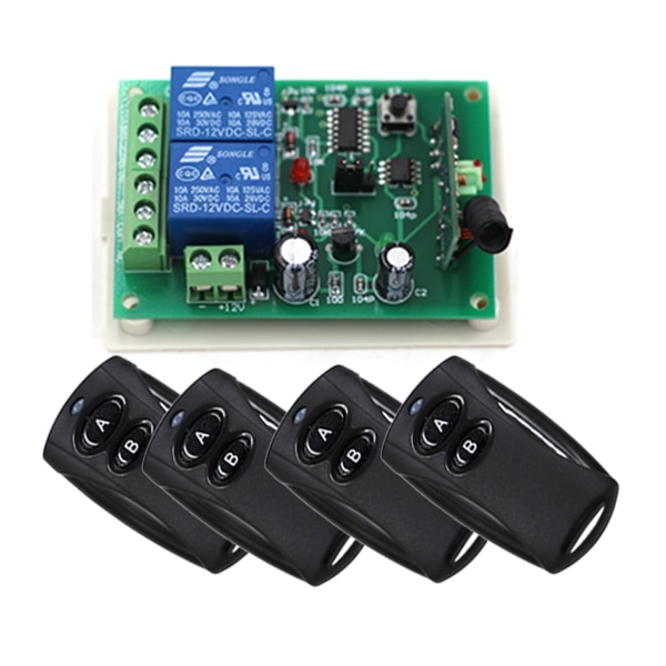 Ab مفتاح أسود اللون 24V 2CH RF اللاسلكية التحكم عن بعد التبديل 4 الارسال + 1 استقبال المنزل الذكي التحكم عن بعد 315MHZ
