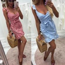 Summer Dress Women V-neck Sleeveless Spaghetti Strap Sundress Wrap Mini Dresses Irregular Ruffles Backless Plaid 2019 Vestidos