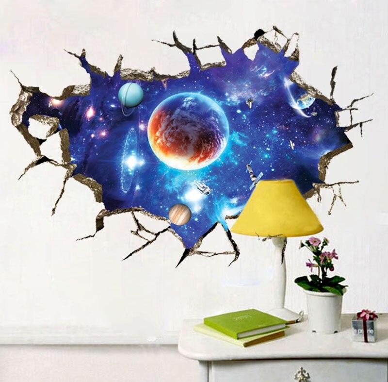 3D pared rota espacio planeta pegatinas de pared decoración de dormitorio mural pegatinas de pared salón decoración mural papel tapiz