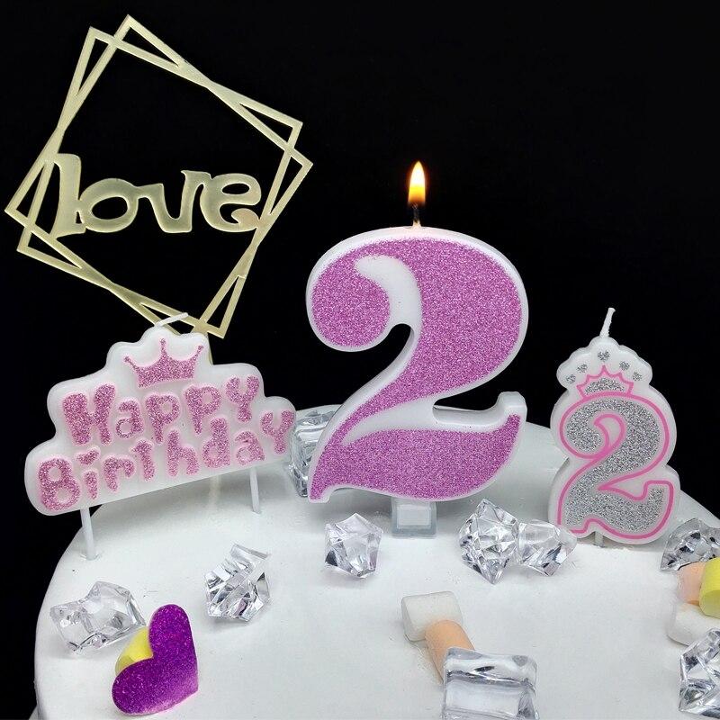 Vela digital de brillo Rosa grande decoración de feliz cumpleaños para tarta princesa confesión 520 niñas