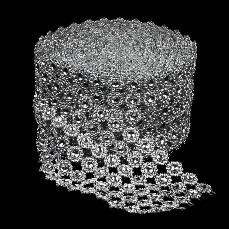 1 yarda x 3,93 pulgadas de ancho 6 filas girasol diamante malla cristal ostentoso Rhinestone cinta envoltura Trim boda pastel vela DIY Decoración