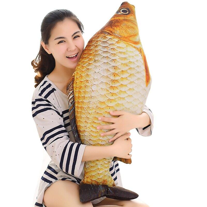 1 stück 75 cm Gefüllte Kissen Cartoon 3D Simulation Plüsch spielzeug Karpfen puppen Kawaii Fisch Kissen Gefüllte puppe für kinder geburtstag geschenke