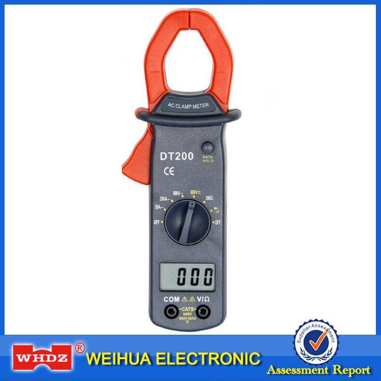 Medidor digital de braçadeira whdz dt200, medidor de diodo de detecção, resistência da tensão atual, buzzer e função de espera de dados