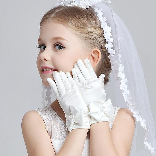 Guantes elásticos de satén para niños, guantes blancos cortos para niñas, guantes largos satinados R016