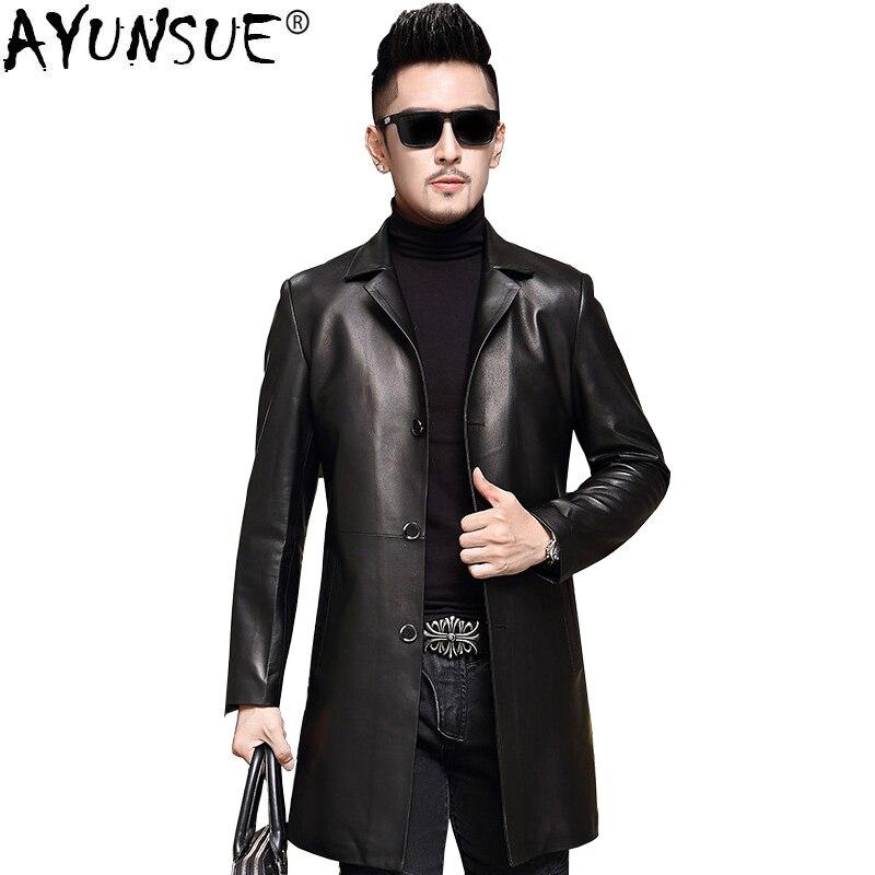 AYUNSUE-جاكيت جلد أصلي للرجال ، معطف شتوي 2020 ، معاطف جلد الغنم ، مقاس كبير 6XL 7XL ، Jaqueta De court o 16628 ZL380