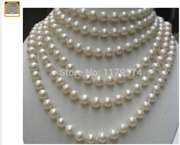Regalo de mujer de agua dulce nueva moda todo-fósforo chica Largo 100 pulgadas 8-9 MM blanco Akoya cultivado perlas Collar Cuentas joyería de ma
