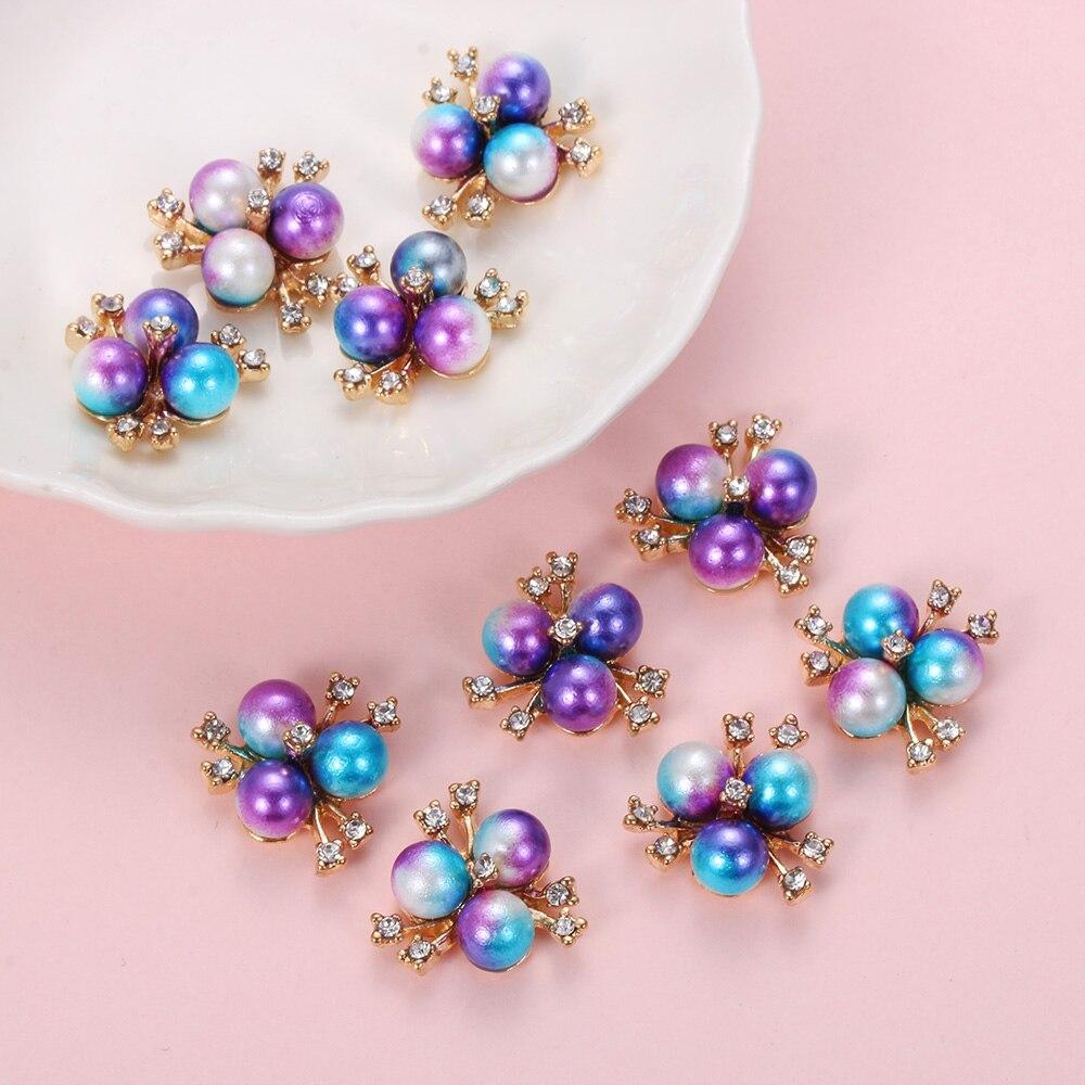 10 unids/set de botones de abeja/Flor de diamantes de imitación Botón de perla decoración de boda Diy Aleación de Cristal Arco Accesorios