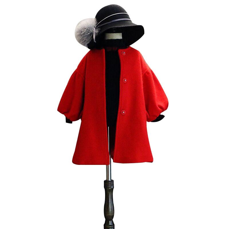 DFXD, abrigo de lana para niños, nueva moda de invierno, prendas de vestir gruesas de un solo pecho largas rojas para niñas, con cinturón, abrigo cálido para niños de 2 a 8 años