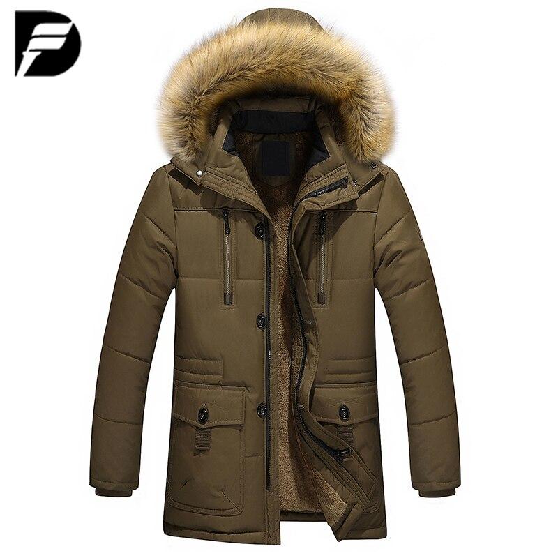 Новая стильная зимняя мужская теплая куртка, парка, Толстая теплая куртка с меховым воротником, длинная хлопковая куртка, Мужская Удобная х...