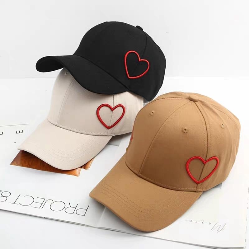 Verano Soild mujeres hombres Running Cap Snapback sombrero ajustable fresco sombrero de sol corazón arco bordado sombreros casquette gorras