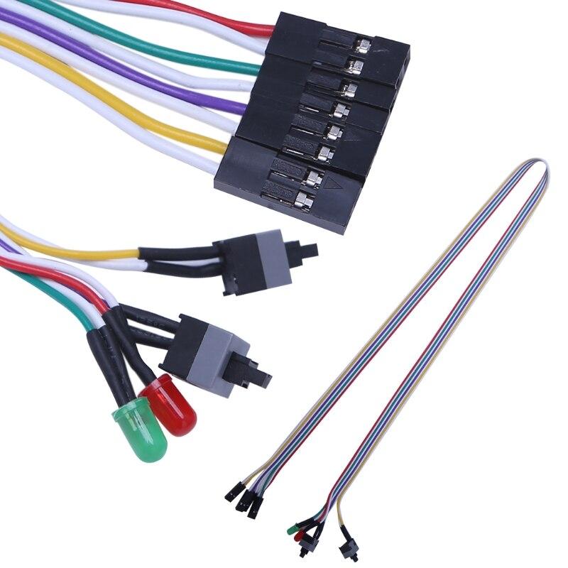 Interruptor de Reinicio, Cable de alimentación de 65cm, caja de ordenador de sobremesa, ATX, Cable de interruptor de encendido y reinicio con luz LED HDD