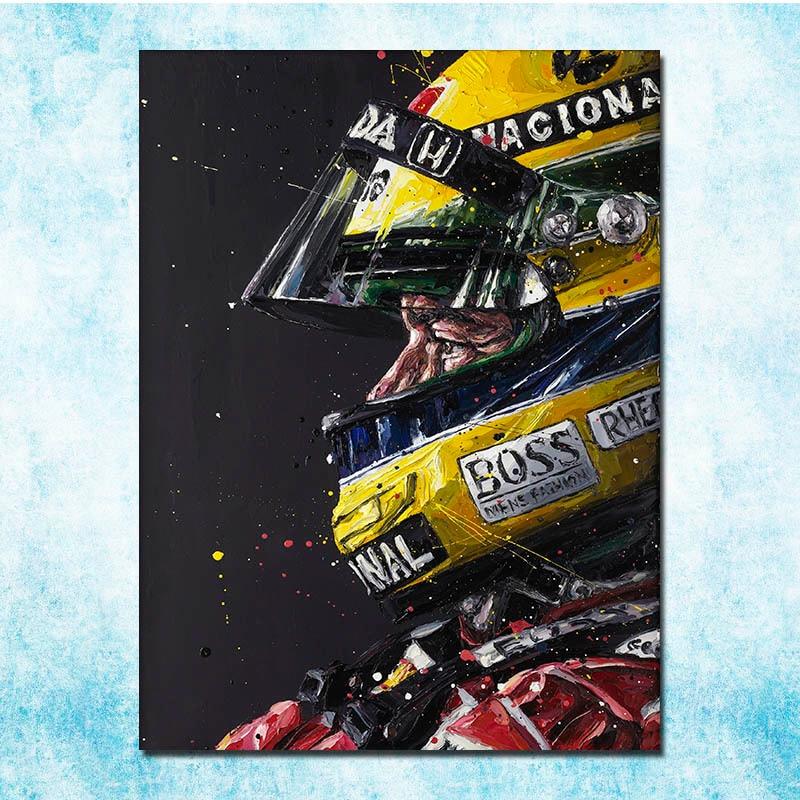 Ayrton Senna F1 racing champion lienzo seda Poster 13x18 24x32 pulgadas decoración de la pared del hogar (más)-3
