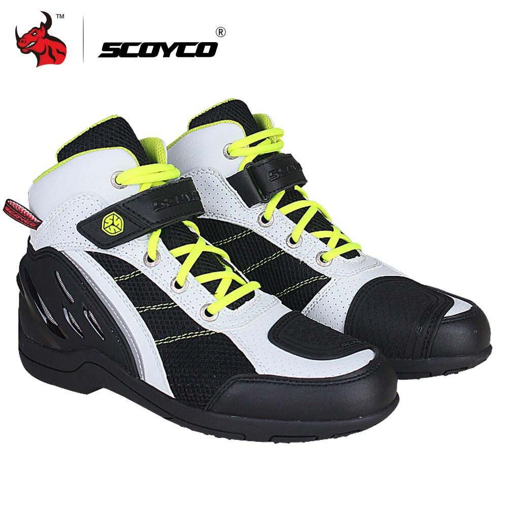 Botas de moto SCOYCO para hombre, botas para motocicleta de malla transpirable, botas para motocicleta todoterreno