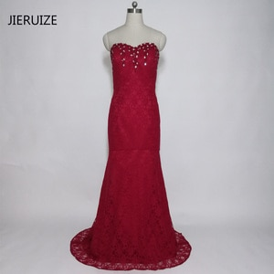 JIERUIZE robe de soiree Burgundy Lace Mermaid Evening Dresses Long  Beaded Prom Party Dresses Formal Dresses Evening Gowns