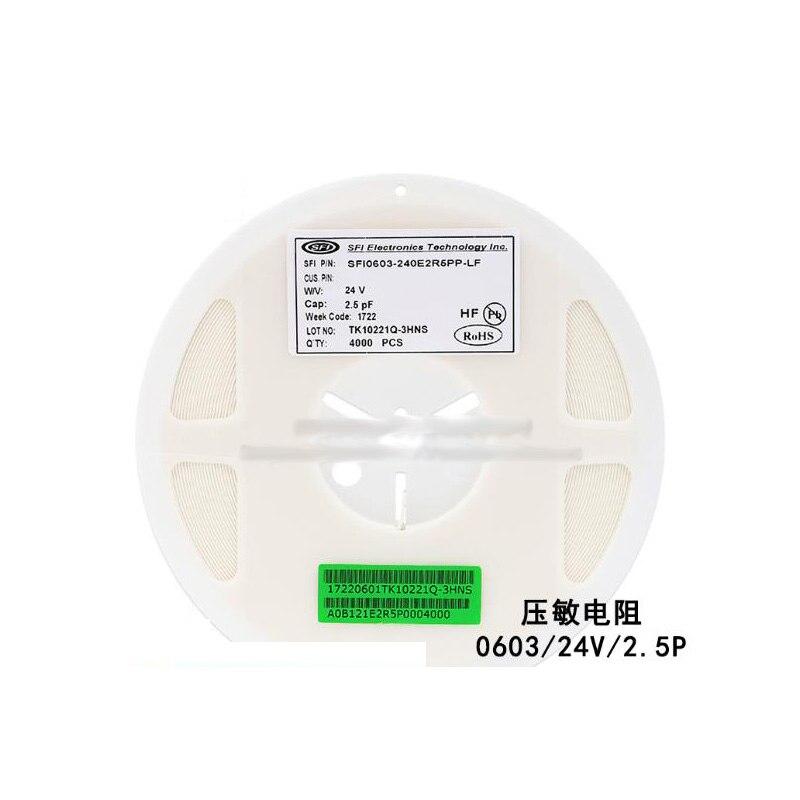100 unids/lote 0603 SMD resistencia dependiente del voltaje VDR 24V 2.5PF SFI0603-240E2R5PP-LF Varistor