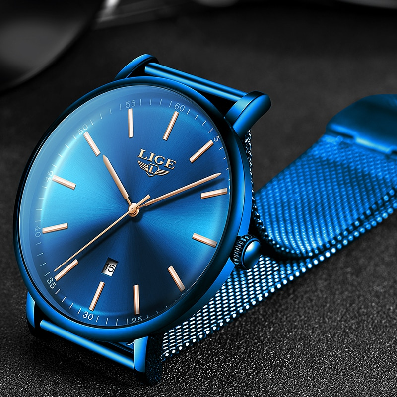 LIGE Women Watches Top Brand Luxury Ladies Mesh Belt Ultra-thin Watch Stainless Steel Waterproof Clock Quartz Watch Reloj Mujer enlarge