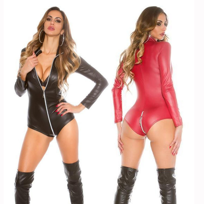 Sexy PU Leather Catsuits Womens Long Sleeve Bodysuits Plus Erotic Leotard Costumes Black Red Zip Front To Back Catwomen Costume