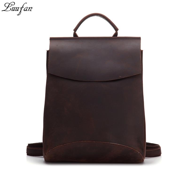 Luufan-حقيبة ظهر جلدية نسائية ، حقيبة ظهر للكمبيوتر المحمول ، حقيبة ظهر مدرسية