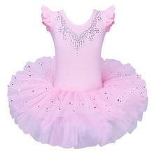 BAOHULU filles Ballet Tutu robe en Tulle sans manches gymnastique justaucorps diamant rose nœud motif Ballet justaucorps pour fille ballerine