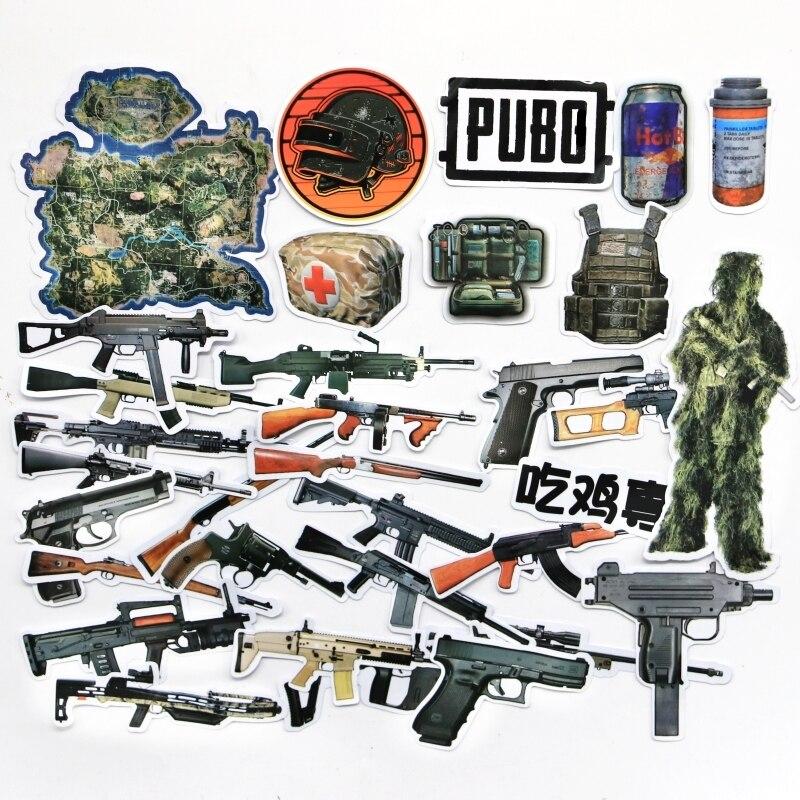 32 unids/lote Playerunknown's Battlegrounds gun PUBG calcomanías de juego 98k AKM M416 pegatina para móvil maleta pegatinas regalo para niño
