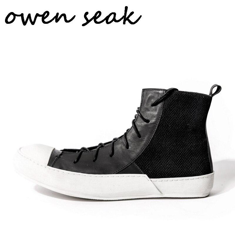 Owen Seak/мужская повседневная обувь; Роскошные высокие кроссовки; Зимние ботинки из натуральной кожи на шнуровке; Кроссовки на плоской подошве...