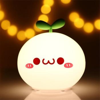 USB LED Night Light Lamp Soft Silicon Touch Sensor Cartoon 5V 1200 mAh 8 Hours Working Kids Cute Night Light