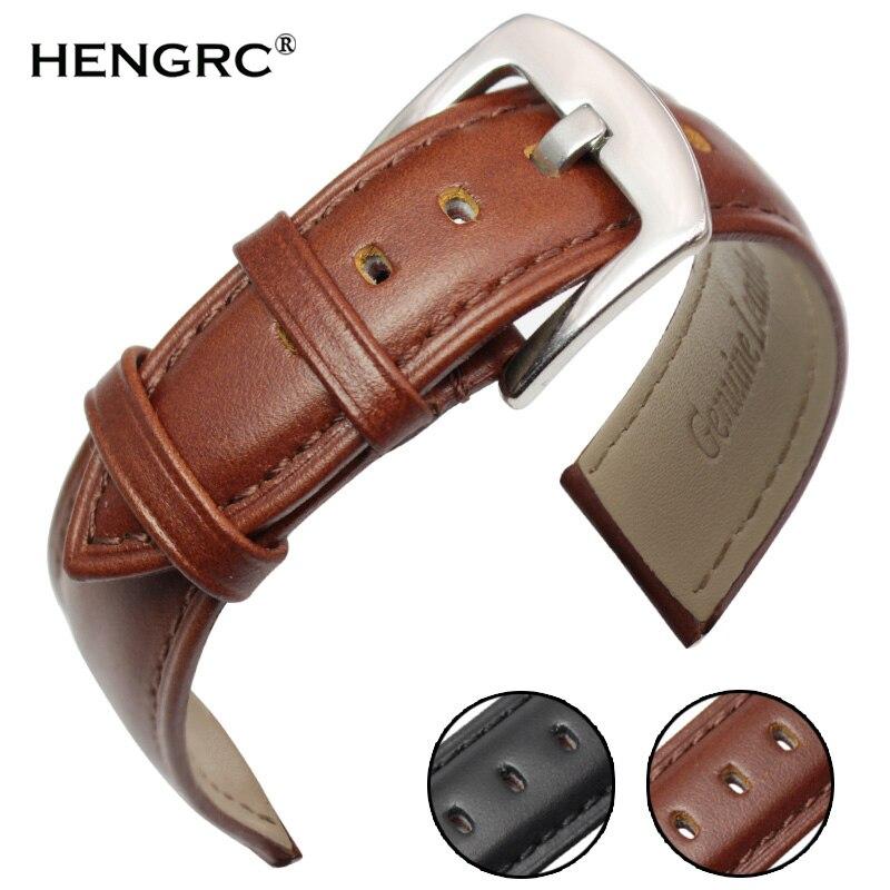 Pulseiras de couro genuíno das mulheres dos homens macio liso preto marrom pulseira de relógio 18mm 19mm 20mm 21mm 22mm 24mm correia pulseira