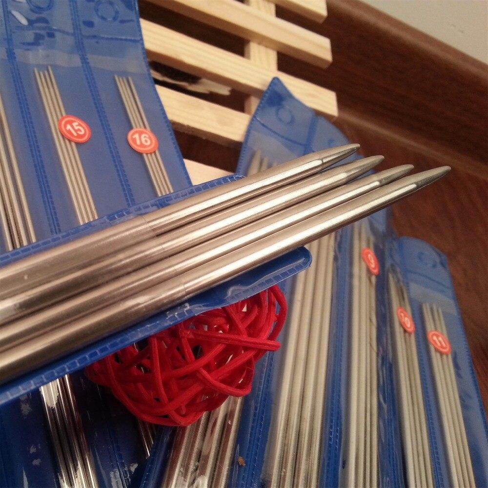 Купить с кэшбэком Free Shipping  44/55PCS/SET 25cm/35cm stainless steel Straight knitting needles crochet hooks knitting needles set Size 6-16