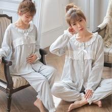 Katoen Kant Moederschap Pyjama Zwangerschap Nachtkleding Verpleging Nachtjapon Zwangere Pyjama Moederschap voeden pak A162