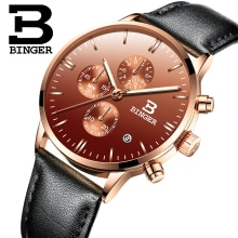 Imported Japan Quartz Calendar Watches for Men Fashion Coffee Real Leather Wristwatch Workable Sub D