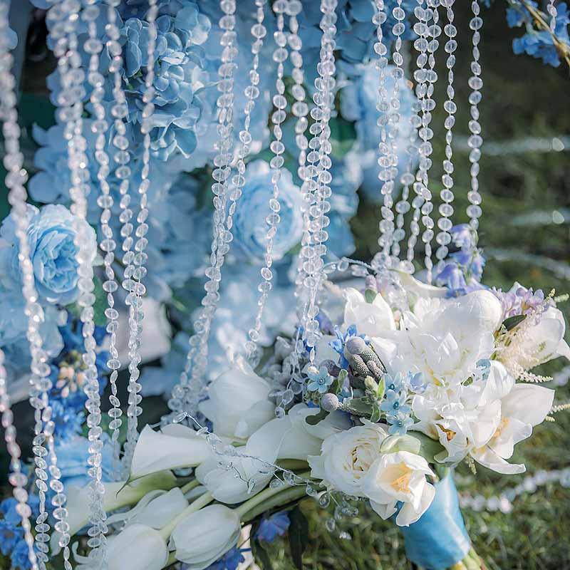 Свадебные праздничные декорации с 5 м бусинами для свадьбы, душа, помолвки, улицы, пляжа, сада, свадьбы, арки, банкета, дня рождения, девичника