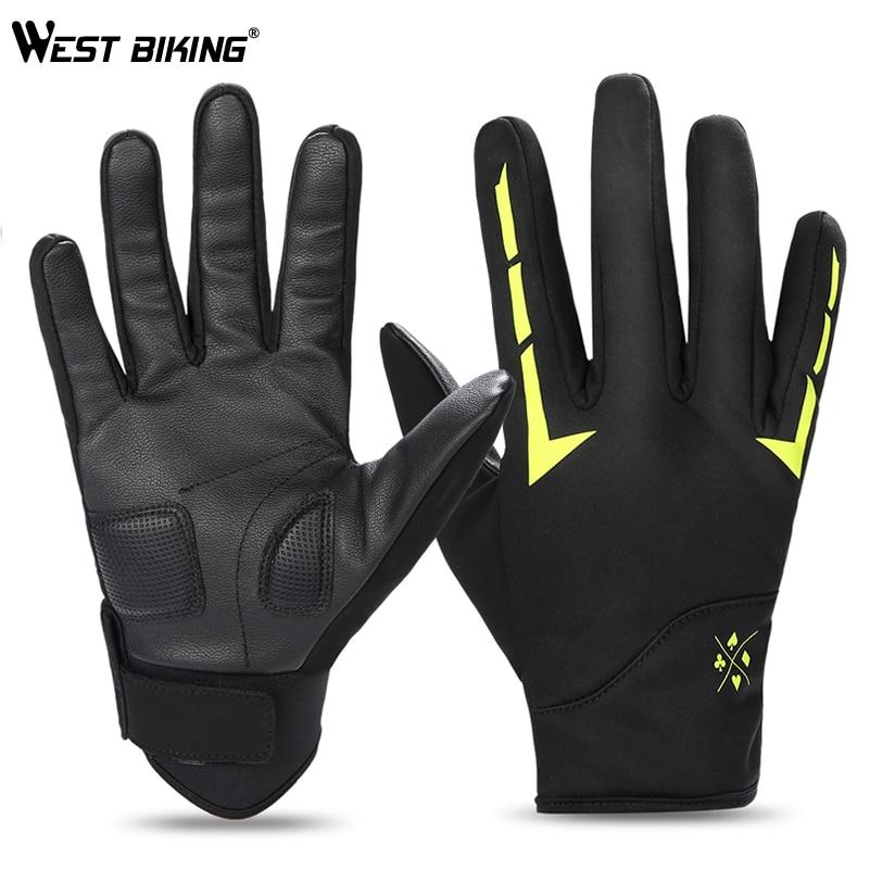 WEST BIKING Bike Gloves Winter Fleece Full Finger Bicycle Gloves Thermal Reflective Bike Gloves Touch Screen Ski Cycling Gloves