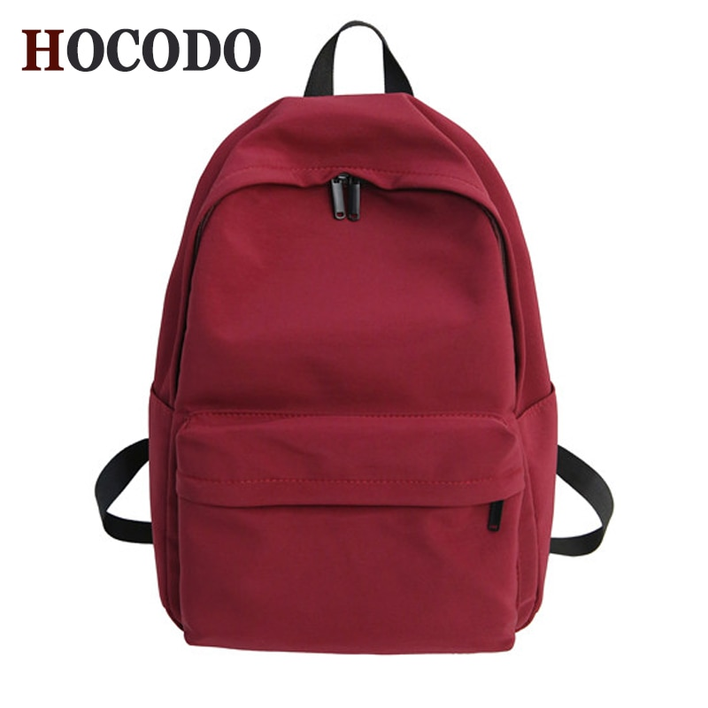 HOCODO Solid Canvas Backpack For Teenagers Women Casual Large Capacity School Bag Simple College Win