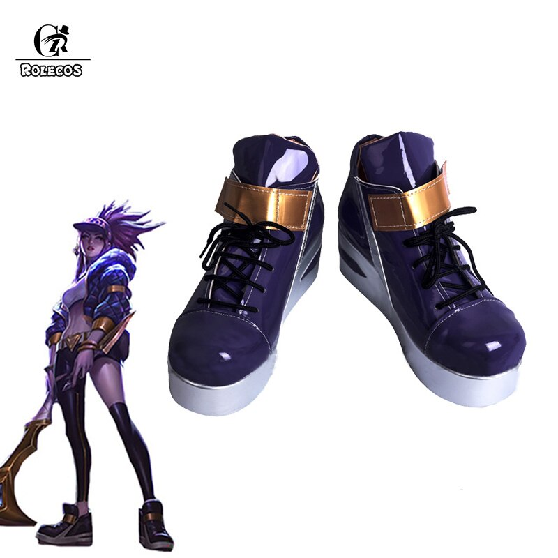 ROLECOS Game LOL K/DA Akali Cosplay Schoenen LOL KDA Akali Cosplay Schoenen Laarzen voor Vrouwen Akali Cosplay Paars schoenen