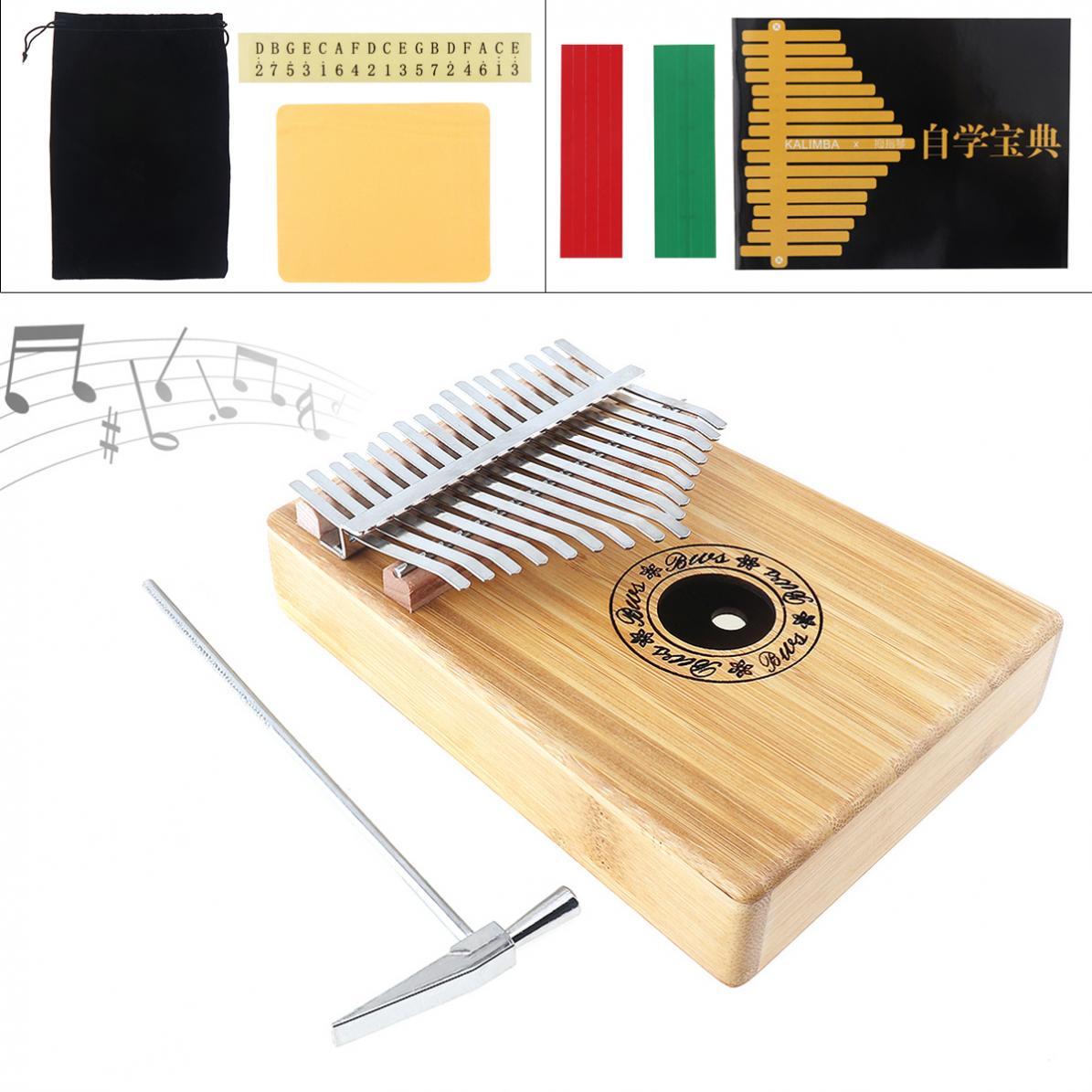 17 Key Kalimba Single Board Bamboo Thumb Piano Mbira Mini Natural Keyboard Instrument with Complete Accessories