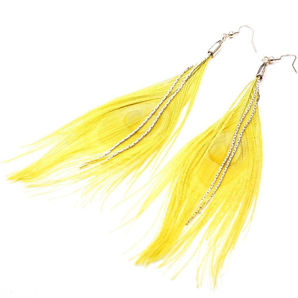 2019 estilo bohemian franjas de cristal do metal do ouro micro-conjunto amarelo macio brincos de penas de moda simples presente de aniversário das mulheres