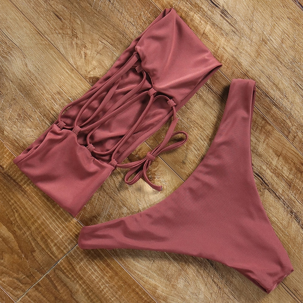 Conjunto de Bikini ajustable de corte alto Push Up Sexy traje de baño mujer brasileño Tanga 2020 Bandeau superior traje de baño de hombro Biquini trajes de baño