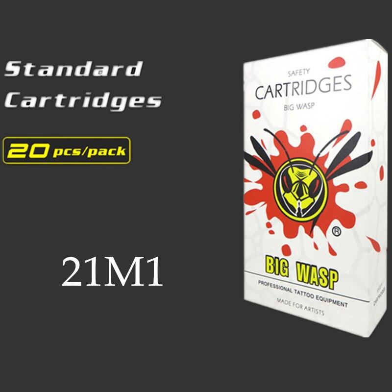 BIGWASP Disposable White Cartridge Needle 21 Single Stack Magnum (21M1) Tattoo Needle 20Pcs/Box Wholesale Supply