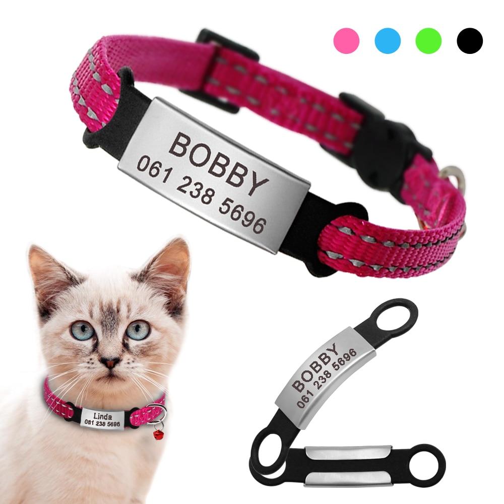 Collar de gato de nailon, collares personalizados para mascotas con etiqueta de identificación de nombre, collares reflectantes para gatos Chihuahua, collares para mascotas, accesorios para perros