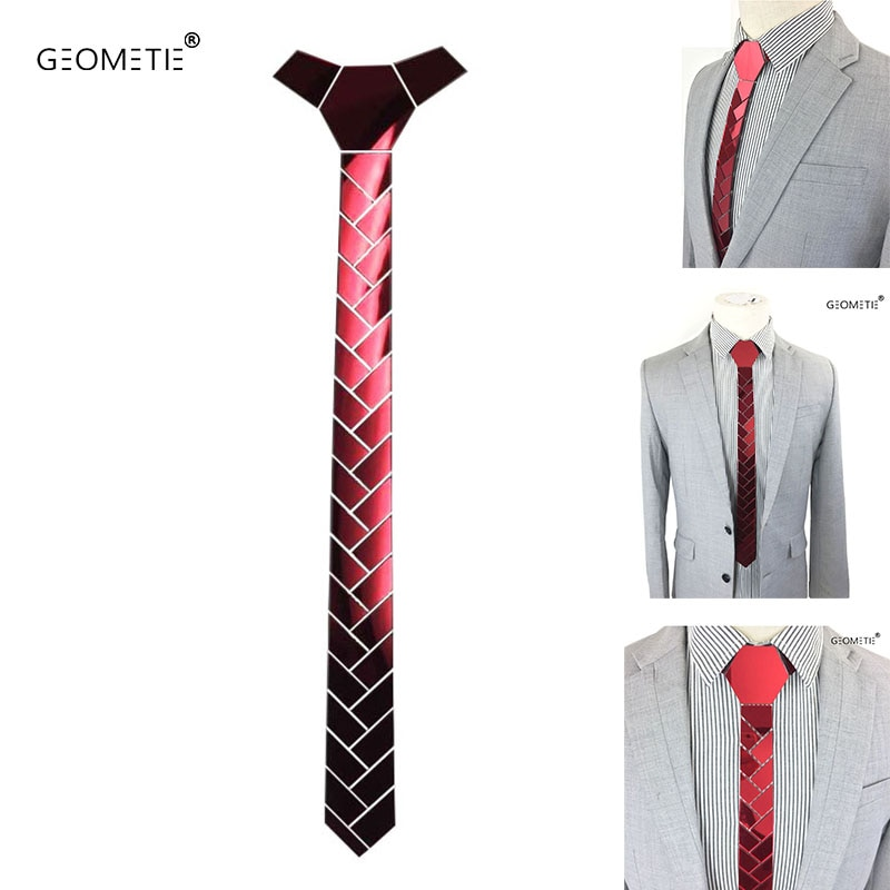 Nova chegada bling ruby moda magro gravata gravata vinho brilhante festa de casamento gravata mascote ascot acessório magro listrado laços