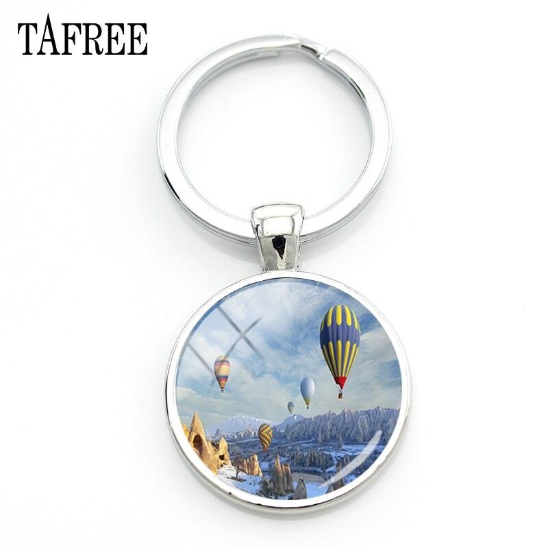 TAFREE Turkey Scenery Keychain Hot Air Balloon Picture Key Chain  2018 hot sale glass gem women girls romantic Jewelry FA56