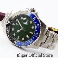 Fashion BLIGER Green Dial Blue Black Bezel Self Winding Men's Watch Sapphire Glass Mental Strap GMT Function 40mm Watch