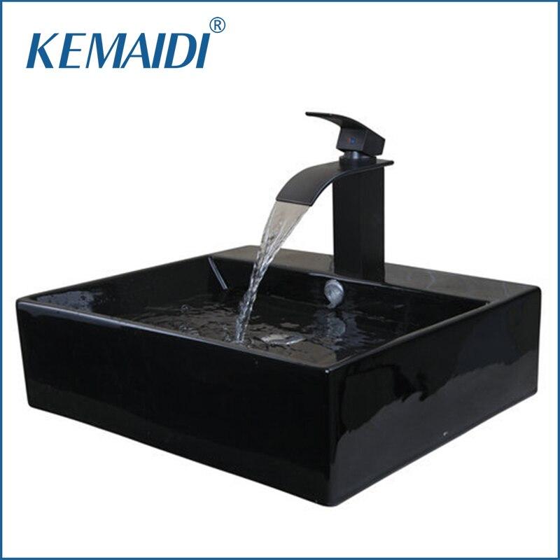 KEMAIDI, lavabo de cerámica ORB para baño, lavabo, cascada de cerámica, grifo pequeño, lavabo, conjunto de baño de latón combinado, grifo mezclador, grifo