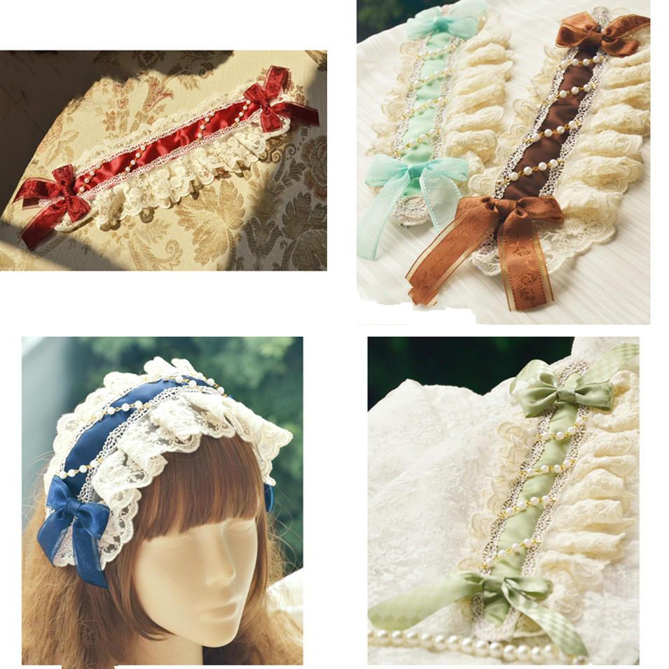 Diademas de princesa dulce lolita mano con precioso gorro lazo de encaje con 13 puntos de color en Lolita kc accesorios de vestido MHTSP039