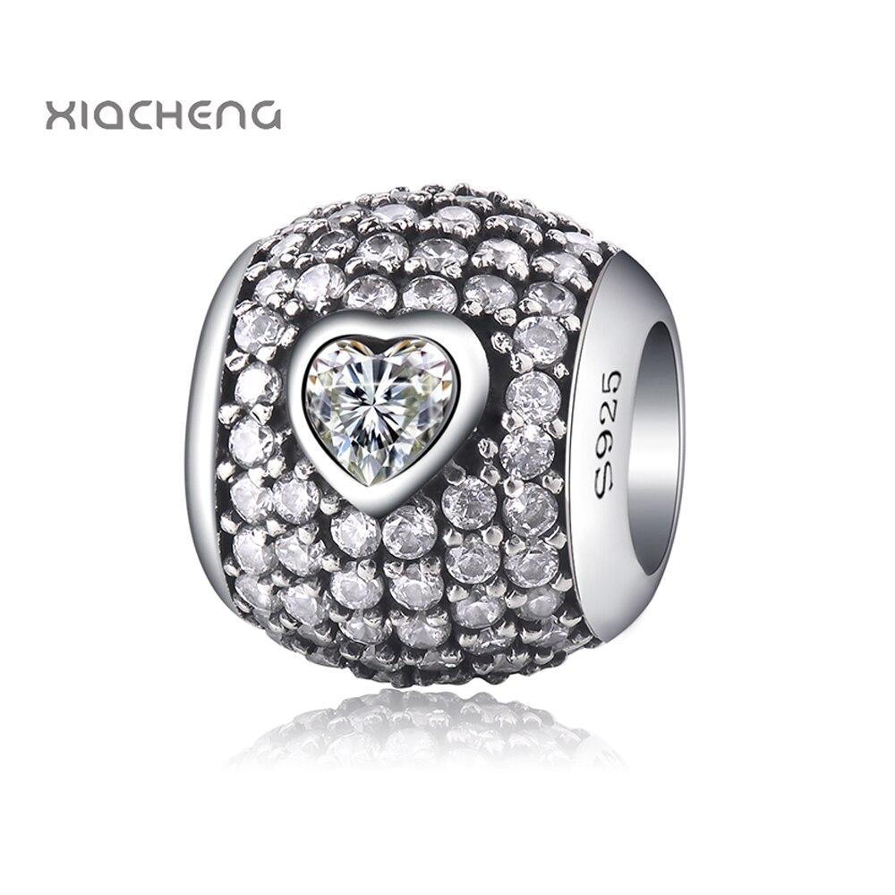Diy Silver Color Beads Charms Charms with Love Big CZ Beads for Women Original Pandora Bracelets & Bangles Jewelry YBD323